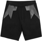 Neil Barrett Black Faux Leather And Neoprene Shorts