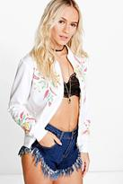 Boohoo Petite Carrie Printed Embroidered Jersey Bomber