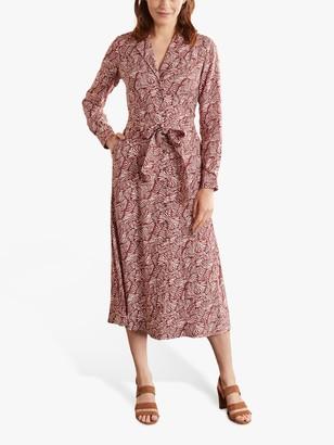 Boden Ottilie Ripple Wave Shirt Dress, Maroon