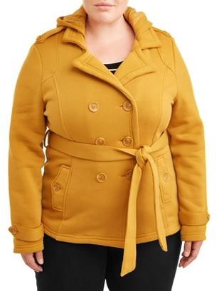 Yoki Women's Plus Hooded Fleece Peacoat