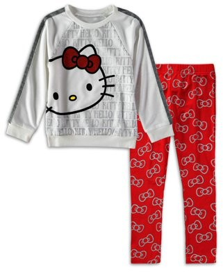 Hello Kitty Girls 4-6X Faux Fur Sleeve Graphic Top And Legging, 2-Piece Outfit Set