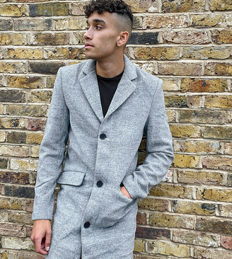 Another Influence Tall wool-blend overcoat in grey