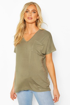 boohoo Maternity Pocket V-neck T-shirt