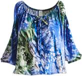 Glam Blue & Green Watercolor Cutout-Sleeve Blouson Top