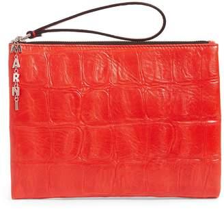 Marni Medium Leather Pochette Clutch Bag