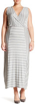 Loveappella Sleeveless Striped Maxi Dress (Plus Size)