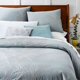 west elm Embroidered Seagrass Standard Shams - Blue Stone