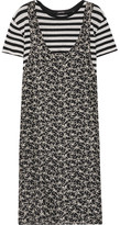 R 13 Tank Overlay Printed Silk And Cotton Dress - Black