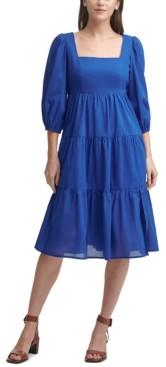 Calvin Klein Cotton Square-Neck Tiered Midi Dress