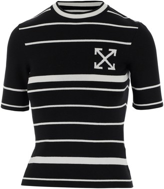 Off-White Striped Short-Sleeved Knit Top