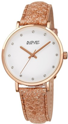 August Steiner Ladies Swarovski Crystal Lizard Patterned Rose Leather Strap Watch