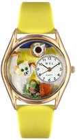 Whimsical Watches Kids' C0120008 Classic Gold Bad Cat Yellow Leather And Goldtone Watch