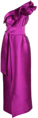 Alberta Ferretti Ruffled One-Shoulder Gown