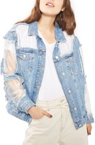 Topshop Women's Moto Organza Oversized Denim Jacket