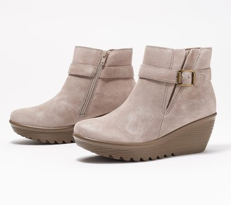 Skechers Suede Parallel Wedge Ankle Boots - Day Date
