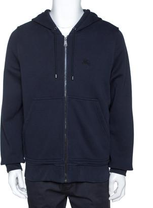 Burberry Midnight Blue Cotton Zip Front Hooded Sweatshirt L