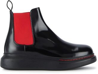Alexander McQueen 40 Black Rubber Chelsea Boots