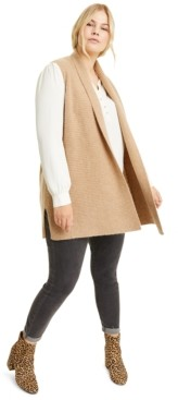 Charter Club Plus Size Cashmere Shaker-Stitch Vest, Created for Macy's