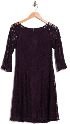 Gabby Skye Elbow Sleeve Lace Trapeze Tent Dress