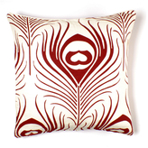 Feather in Scarlet Linen Pillow