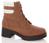 Dorothy Perkins Womens Quiz Tan Faux Fur Lace Ankle Boots
