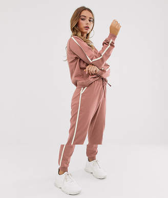Asos Design DESIGN tracksuit sweat / basic jogger with tie with contrast binding-Pink