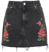 Petite rose embroidered skirt