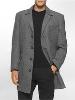 Calvin Klein Mens X Fit Ultra Slim Fit Herringbone Overcoat Jacket Black White