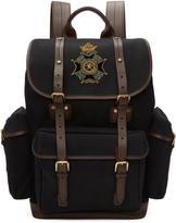 Dolce & Gabbana Black Embroidered Crest Backpack