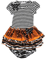 Bonnie Baby Newborn Mixed-Media Striped/Sparkle-Dot/Printed/Solid Dress & Zebra-Printed Panty Set