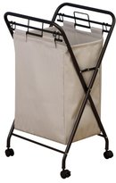 Household Essentials Rolling Laundry Hamper with Natural Polyester Bag, Antique Bronze Frame