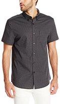 Kenneth Cole New York Men's Short Sleeve Slim Button Down Collar Dot Print Shirt