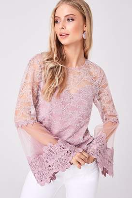 Girls On Film Carnation Dusty Pink Lace Flute Sleeve Top