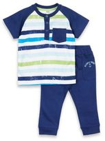 Petit Lem Petit LemTM 2-Piece Fishy Fishy Henley Shirt and Pant Set in Navy/White