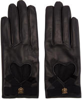 Gucci Black Leather Heart Bow Gloves