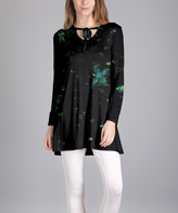 Lily Black Splatter Tie-Neck Long-Sleeve Tunic - Plus Too