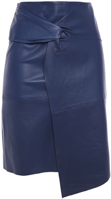 BA&SH Asymmetric Twisted Leather Skirt