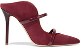 Malone Souliers Maureen Patent Leather-trimmed Suede Mules - Burgundy