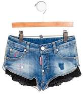 DSQUARED2 Girls' Lace-Trimmed Denim Shorts w/ Tags