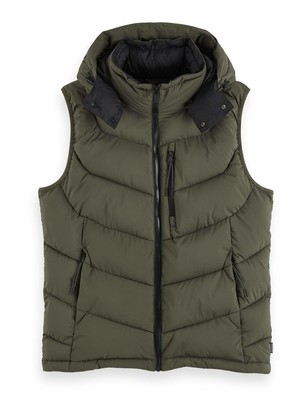 Scotch & Soda Men's Quilted Repreve Fake Down Body Warmer with Detachable Hood Down Vest