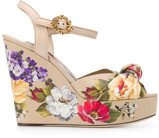 Dolce & Gabbana Floral Wedge Sandals