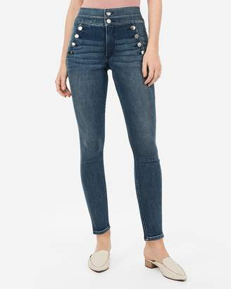 Express Super High Waisted Denim Perfect Curves Button Front Ankle Leggings