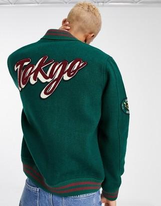 ASOS DESIGN wool mix varsity bomber jacket in green