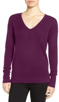 Halogen V-Neck Cashmere Sweater (Regular & Petite)