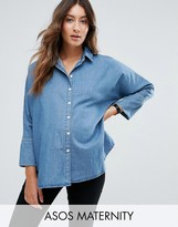 Asos Denim Shirt With Batwing Sleeve in Mid Blue Wash