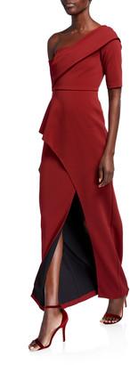 Aidan Mattox One-Shoulder Short-Sleeve Asymmetric Peplum Column Gown