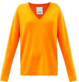 Allude V-neck Cashmere Sweater - Orange