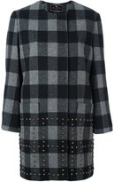 Etro stud-embellished checked coat - women - Silk/Polyamide/Acetate/Brass - 40