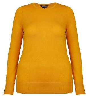 Dorothy Perkins Womens **Dp Curve Yellow Button Cuff Jumper, Yellow