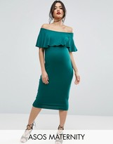 Asos Midi Bardot Pencil Dress With Ruffle